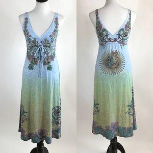 Butterfly Dropout Sleeveless Dress Birds Flowers